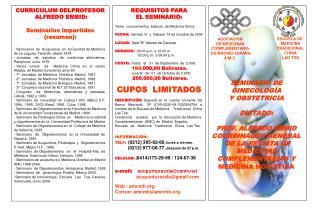 SEMINARIO DE GINECOLOGÍA  Y OBSTETRICIA DICTADO:  PROF. ALFREDO EMBID  COORDINADOR GENERAL