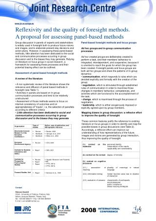 Panel-based foresight methods and focus groups Ad hoc groups  and in-group communication processes