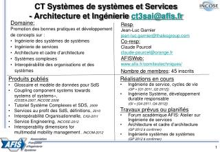 CT Systèmes de systèmes et Services - Architecture et Ingénierie  ct3sai@afis.fr