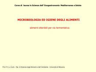 Corso di  laurea in Scienze dell� Enogastronomia Mediterranea e Salute