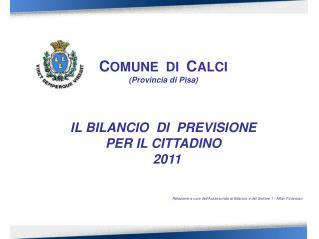 C OMUNE  DI   C ALCI (Provincia di Pisa) IL BILANCIO  DI  PREVISIONE PER IL CITTADINO   2011