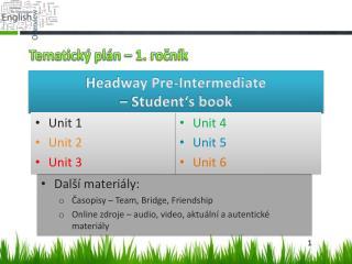 Tematický plán – 1. ročník