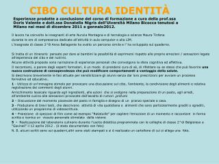 CIBO CULTURA IDENTIT À