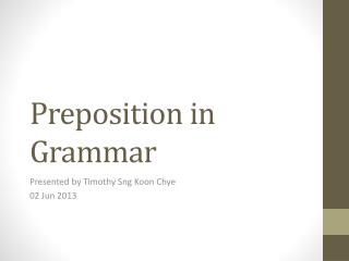 Preposition  in Grammar
