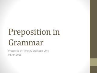 Preposition  in Grammar