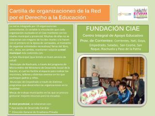Cartilla de organizaciones de la Red por el Derecho a la Educación