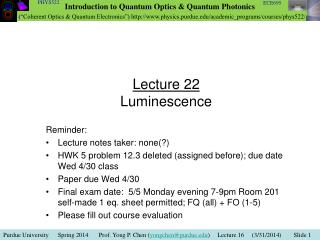 Lecture 22 Luminescence