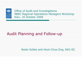 Audit Planning and Follow-up Rasto Soltes and Hock-Chye Ong, RAC-EC