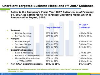 Chordiant Targeted Business Model and FY 2007 Guidance