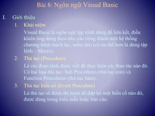 Bài 8: Ng ôn ngữ Visual Basic