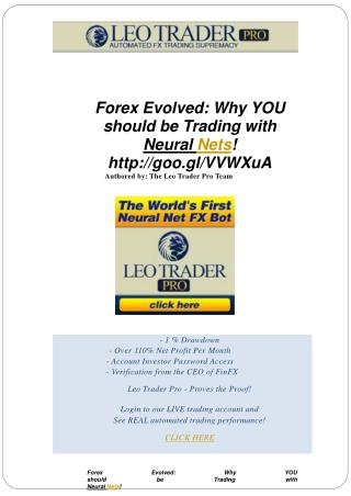 Forex Evolved Why YOU should be Trading with Neural Nets!