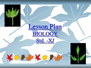 Lesson Plan BIOLOGY Std. -XI