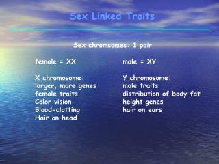 Sex Linked Traits