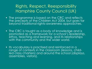 Rights, Respect, Reesponsibility Hamphire County Council (UK)