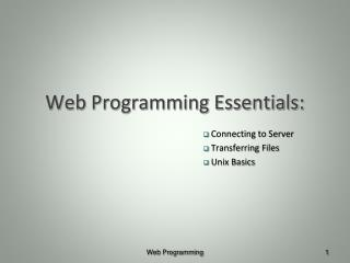 Web Programming Essentials: