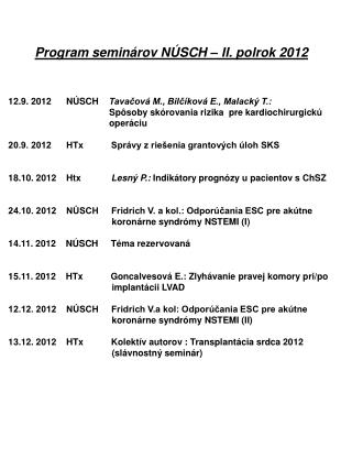 Program seminárov NÚSCH – II. polrok 2012