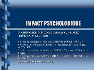 IMPACT PSYCHOLOGIQUE