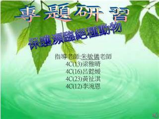 指導老師 : 朱敏儀 老師 4C(13) 梁雅晴 4C(16) 呂懿媛 4C(23) 黃祉淇 4C(12) 李涴恩