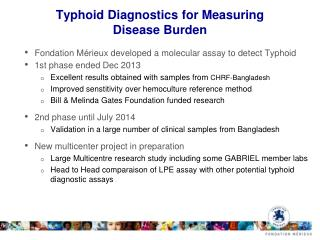 Typhoid  Diagnostics for Measuring  Disease Burden