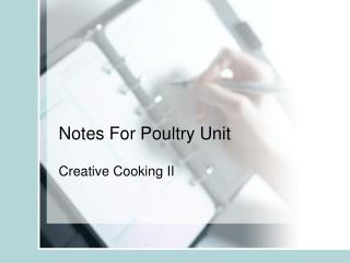Notes For Poultry Unit