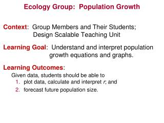 Ecology Group:  Population Growth