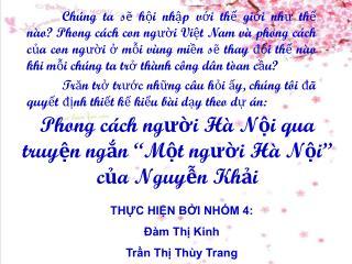 """Phong cách người Hà Nội qua truyện ngắn """"Một người Hà Nội"""" của Nguyễn Khải"""