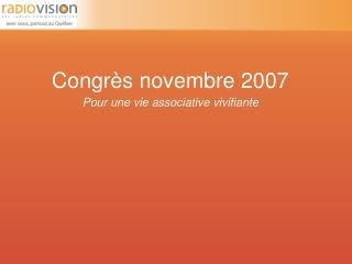 Congrès novembre 2007