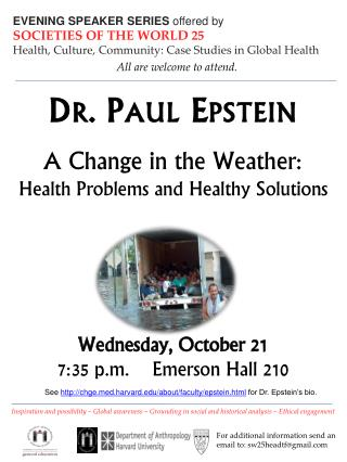 EVENING SPEAKER SERIES  offered by SOCIETIES OF THE WORLD 25