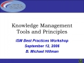 Knowledge Management Tools and Principles