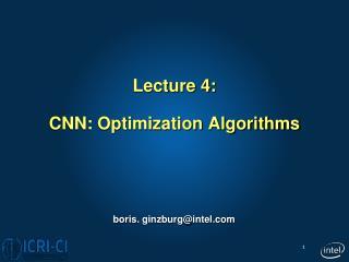 Lecture 4: CNN: Optimization Algorithms