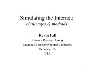Simulating the Internet: challenges & methods