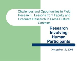 Research Involving Human Participants