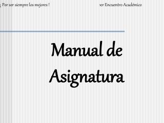 Manual de Asignatura
