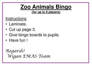 Zoo Animals Bingo for up to 6 players
