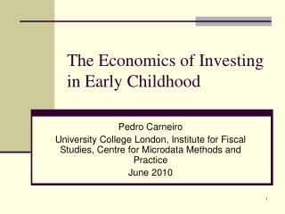 The Economics of Investing in Early Childhood