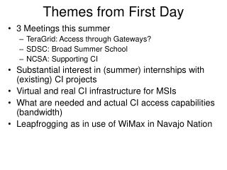 Themes from First Day