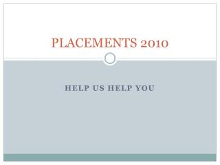 PLACEMENTS 2010