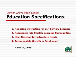 Center Grove High School Education Specifications