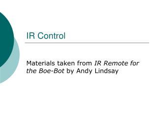 IR Control