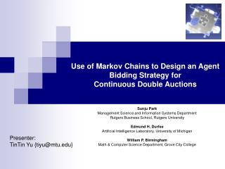 Use of Markov Chains to Design an Agent Bidding Strategy for  Continuous Double Auctions