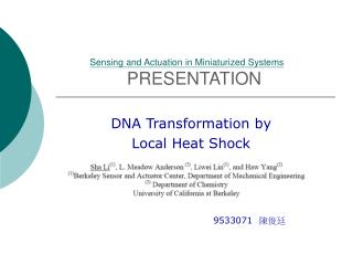 Sensing and Actuation in Miniaturized Systems PRESENTATION