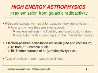 HIGH ENERGY ASTROPHYSICS -ray  emission from galactic radioactivity