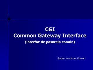 CGI Common Gateway Interface (interfaz de pasarela común)