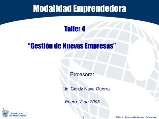 """Taller 4  """"Gestión de Nuevas Empresas"""""""