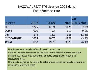 BACCALAUREAT STG Session 2009 dans  l'académie de Lyon