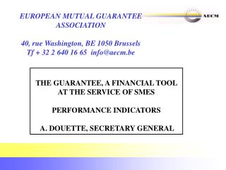 THE GUARANTEE, A FINANCIAL TOOL AT THE SERVICE OF SMES PERFORMANCE INDICATORS