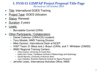 1. FY10-11 GIMPAP Project Proposal Title Page Revised on 14 October 2010