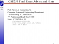 CSE255 Final Exam Advice and Hints