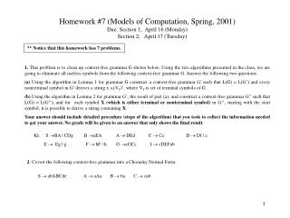 Homework #7 (Models of Computation, Spring, 2001) Due: Section 1;  April 16 (Monday)