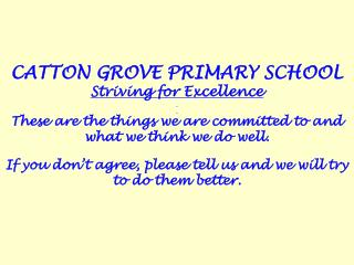 CATTON GROVE PRIMARY SCHOOL Striving for Excellence
